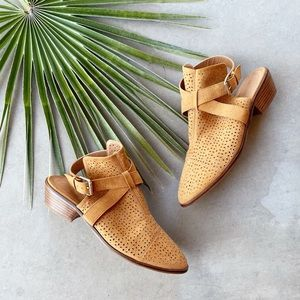 BP Cognac Suede Perforated Cut-Out Ankle Booties